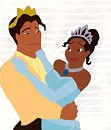 Tiana and Naveen dancing colored