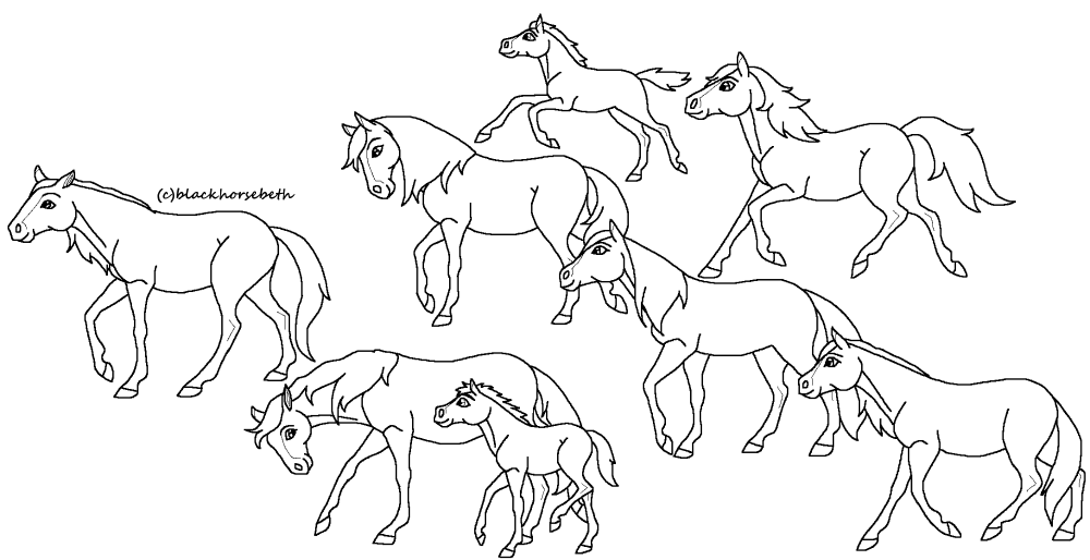 horses herding cattle coloring pages - photo#1