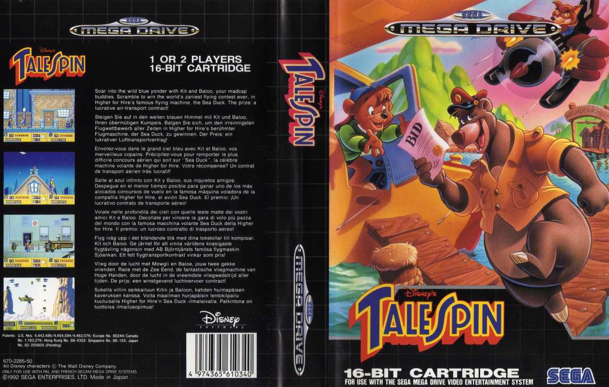 Super Baloo/Talespin (Playmates et autres) 1991 Talespin-megadrive